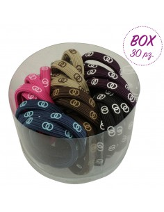 Box Fashion Hair Ties BOX 30 PZ ELASTICI COLOR DUE CERCHI | Wholesale Hair Accessories and Costume Jewelery
