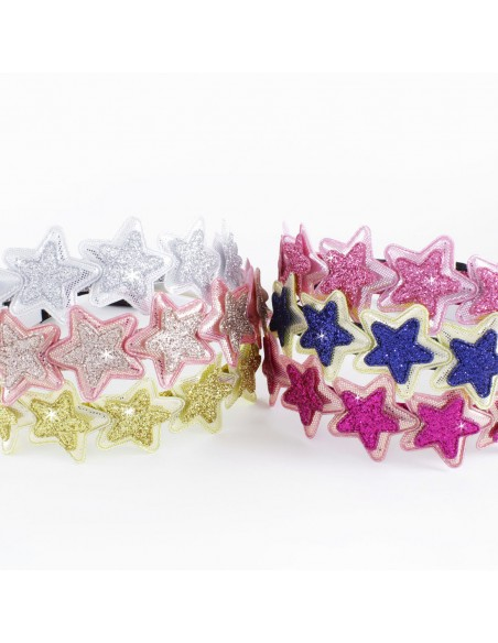 Headbands for Childs CERCHIO CM 01 STELLE GLITTER PZ 6   Wholesale Hair Accessories and Costume Jewelery