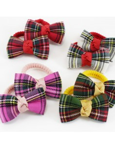 Hair Ties for Child ELASTICO BAMBINA PEZZI 2 FIOCCO TARTAN PZ 4 | Wholesale Hair Accessories and Costume Jewelery