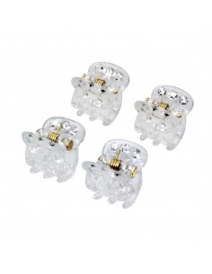 Small Hair Clamp with rhinestones PINZA STRASS TRASPARENTE PEZZI 4 | Wholesale Hair Accessories and Costume Jewelery