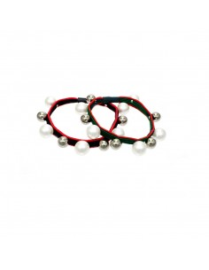 Box Fashion Hair Ties BOX ELASTICO BI COLOR CON PERLE PZ.20 | Wholesale Hair Accessories and Costume Jewelery