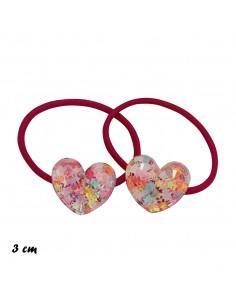 Elastici Bimba ELASTICO CON CUORI PZ 2 | Wholesale Hair Accessories and Costume Jewelery